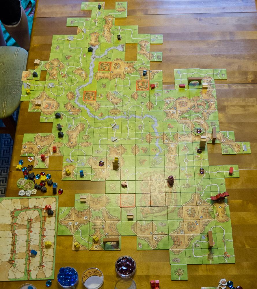 Carcassonne - ołożona plansza pod koniec gry